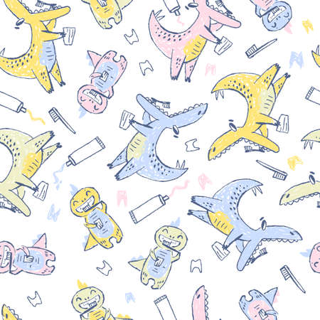 Doodle cute Dinosaurs seamless pattern. Teeth cleaning. Funny kid drawn characters. Vector illustration