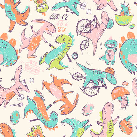 Doodle cute Dinosaurs seamless pattern. Funny cute kid drawn characters. Vector illustration