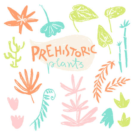 Vector collection of hand drawn textured prehistoric plants. Naive kid drawn style. Tropical herbs. Illustration
