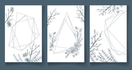 Set of winter cards, geometric trendy crystal design. Hand drawn Banque d'images - 109409028