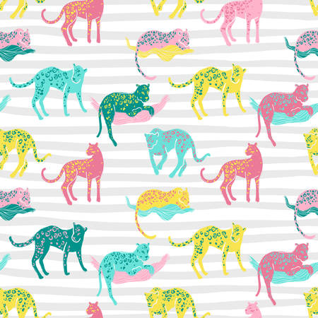 Vector seamless pattern with jaguars. Going, staying, sleeping,