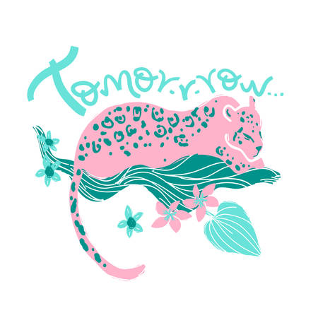 Vector t-shirt print with jaguar and han lettering tomorrow.  Tr Illustration