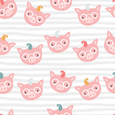 Vector seamless pattern with piglet faces. Emoji. Four-eyes hips