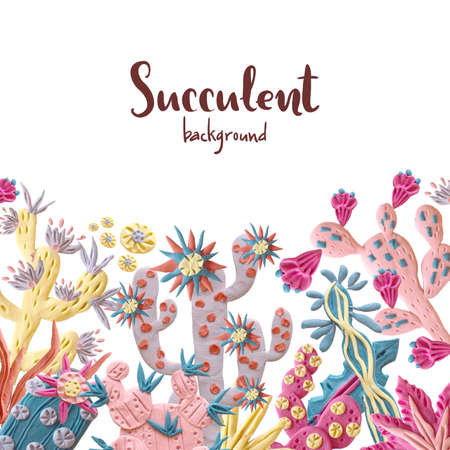 Plasticine succulent with flowers illustration. Fashionable back