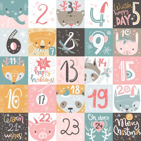Christmas advent calendar. Hand drawn modern design elements and calligraphy. Cute animals Illustration