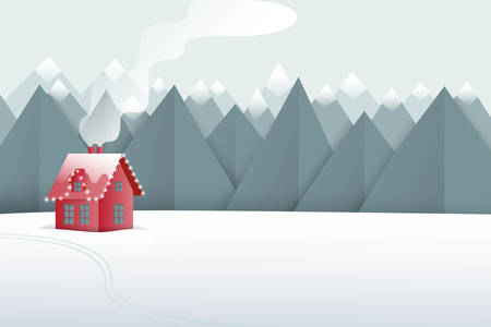 Winter paper art landscape. Mountains and small red house on the snowy field. Vector illustration.