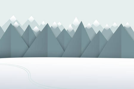 Winter paper art landscape. Mountains with snowy peaks and the white field. Vector illustration.