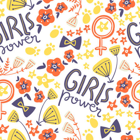 Vector doodle seamless pattern with concept lettering and flowers, bows, symbols. Girl power, trendy illustration. Scandinavian style.