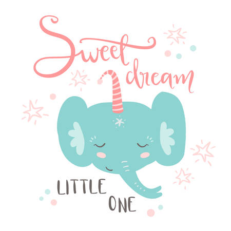 Cute sleeping baby elephant. Hand drawn vector illustration. For kids or babys shirt design, fashion print design, graphic, t-shirt,kids wear. Sweet dream, little one
