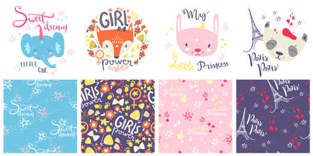 Cute baby animals and seamless patterns. Hand drawn vector