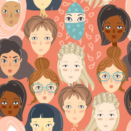 Feminism. Seamless pattern with women portraits. Different religion and nationality girls. Vector illustration 일러스트