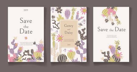 Ready wedding card design template. Beautiful desert blooming succulents. Vector illustration. Ilustração
