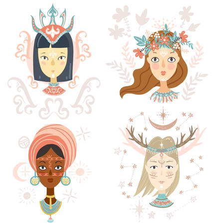 Collection of women faces, mystical hairstyles and accessories, different colors and nationalities. Avatars for blogs, brands. 向量圖像