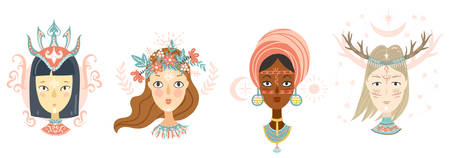Collection of women faces, mystical hairstyles and accessories, different colors and nationalities. Avatars for blogs, brands.