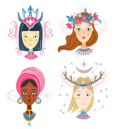 Collection of women faces, mystical hairstyles and accessories, different colors and nationalities. Avatars for blogs, brands. 일러스트