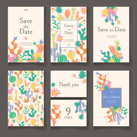 Ready wedding card design template. Beautiful desert blooming succulents. Vector illustration. 일러스트