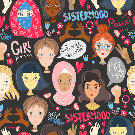 Feminism. Seamless pattern with women portraits and feminism signs and symbols, hands, lettering, speech bubbles, flowers. Vector illustration