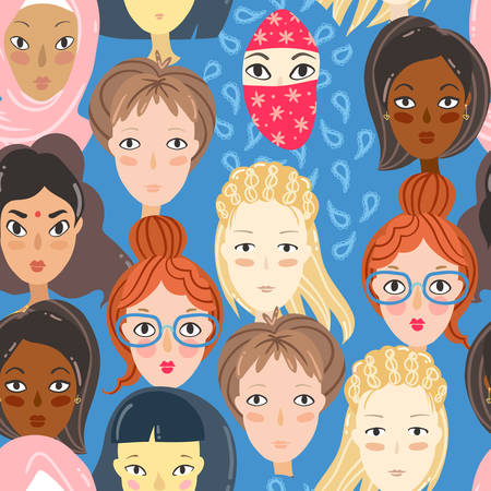 Feminism. Seamless pattern with women portraits. Different religion and nationality girls. Vector illustration Ilustrace