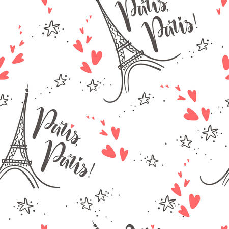 Vector doodle seamless pattern with Eiffel Tower and lettering Paris. Trendy illustration. Sketchy style.
