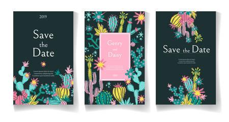 Ready wedding card design template. Beautiful desert blooming succulents. Vector illustration. Illusztráció