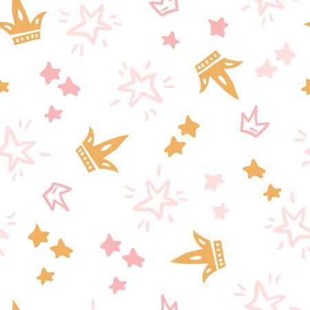 Vector doodle seamless pattern with stars, crowns. Pink color illustration. Scandinavian style. Illusztráció