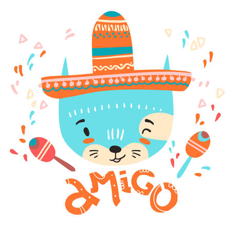 Cute mexican baby cat. Hand drawn vector illustration. For kids or babys shirt design, fashion print design, graphic, t-shirt,kids wear. Amigo.