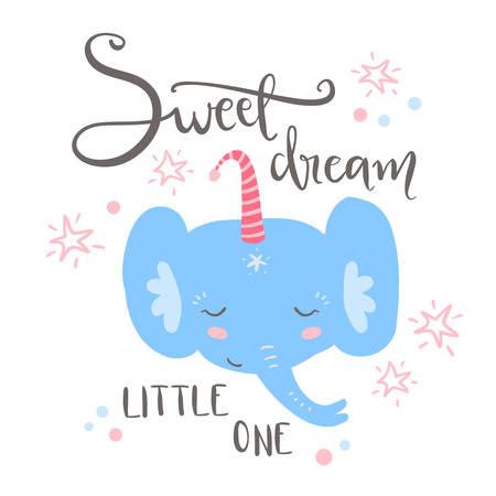 Cute sleeping baby elephant. Hand drawn vector illustration. For kids or babys shirt design, fashion print design, graphic, t-shirt,kids wear. Sweet dream, little one