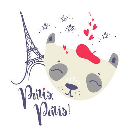 Cute French baby panda. Hand drawn vector illustration. For kids or babys shirt design, fashion print design, graphic, t-shirt,kids wear. Paris, Paris