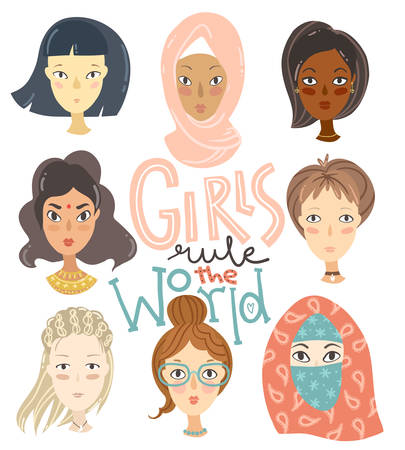 Set of girls of different nationalities and religions. Portraits of characters. Collection of avatars for web social networks or blogs. Vector illustration.