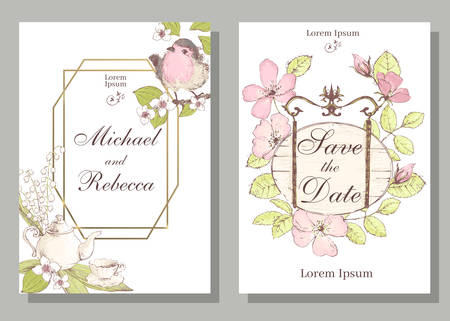 Set of card with robin bird, wiid rose, leaves and geometrical frame. Wedding ornament concept. Floral poster, invite. Vector decorative greeting card, invitation design background
