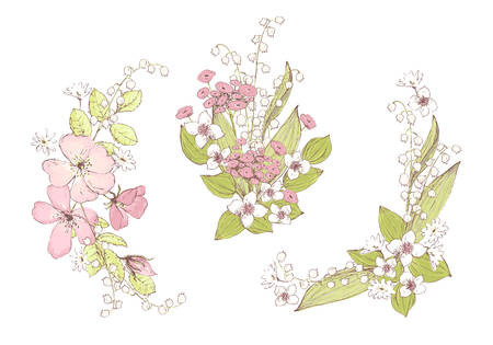 Beautiful vector bouquets, wild flowers. Compositions for wedding decor, spring pastel color decorations.