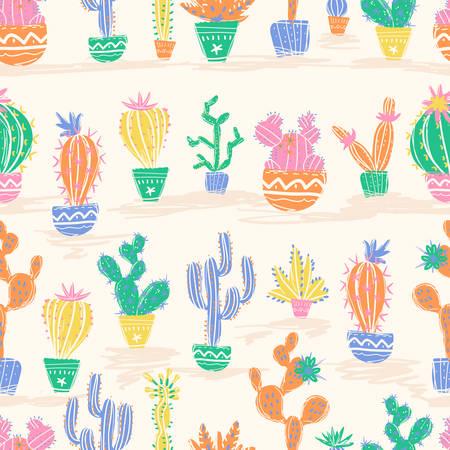 Illustration vectorielle de cactus dessinés à la main. Modèle sans couture. Brick
