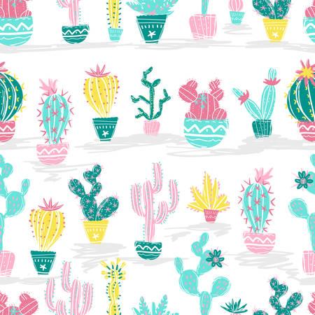 Vector illustration of hand drawn cactus. Seamless pattern. Brig