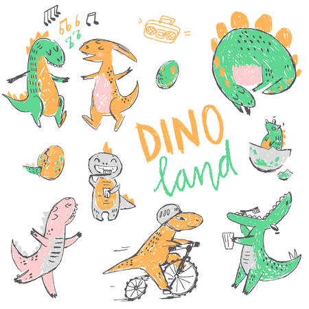 Doodle cute Dinosaurs collection. Funny cute kid drawn characters. Vector illustration