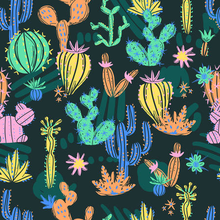 Vector illustration of hand drawn cactus. Seamless pattern. Bright exotic succulents in scandinavian style.