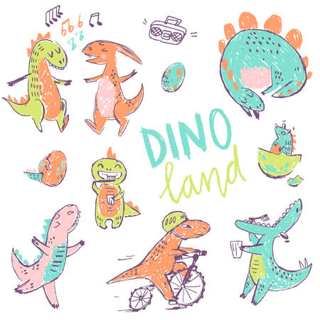Doodle cute Dinosaurs collection. Dancing, teeth cleaning, sleeping and bicycle riding. Funny cute kid drawn characters. Vector illustration