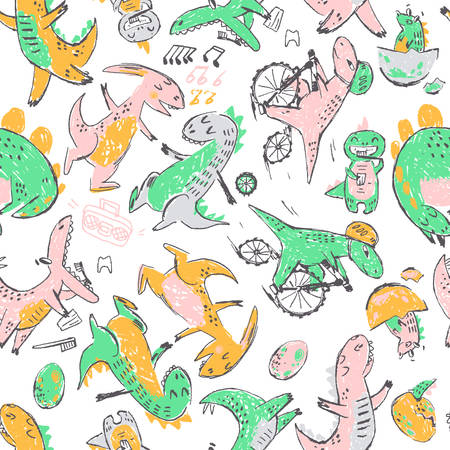 Doodle cute Dinosaurs seamless pattern. Dancing, teeth cleaning, sleeping and bicycle riding. Funny cute kid drawn characters. Vector illustration