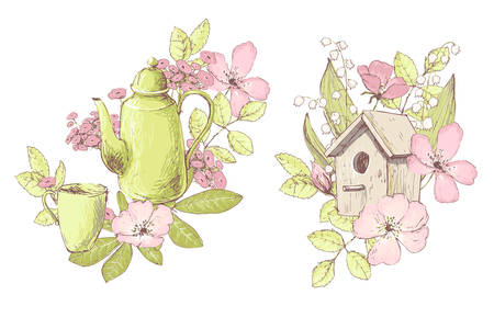 Beautiful vector compositions, wild flowers, teapot, birdhouse. Compositions for wedding decor, spring pastel color decorations.