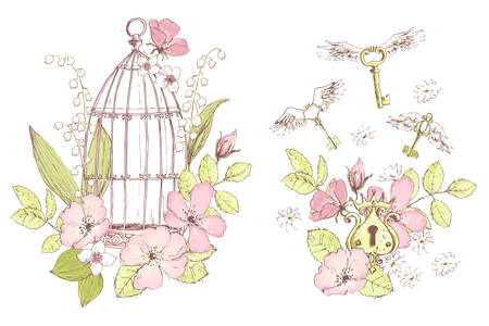 Beautiful vector compositions, wild flowers, keys, cage. Freedom symbol. Compositions for wedding decor, spring pastel color decorations.