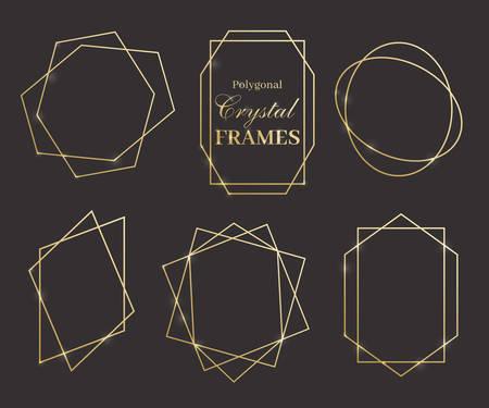 Vector geometry golden frames. Set of crystal shiny design elements. Modern and fashionable.
