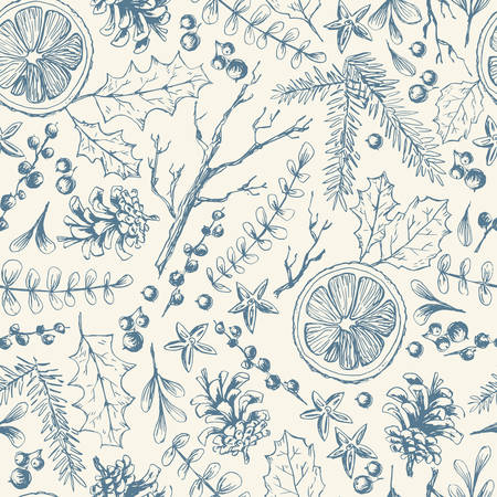 Vector hand drawn seamless pattern with Christmas natural herbal elements. Mistletoe, citrus and fir-tree branches. Sketchy style.
