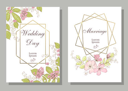 Set of card with wiid rose, may-lily, leaves and geometrical frame. Wedding ornament concept. Floral poster, invite. Vector decorative greeting card, invitation design background