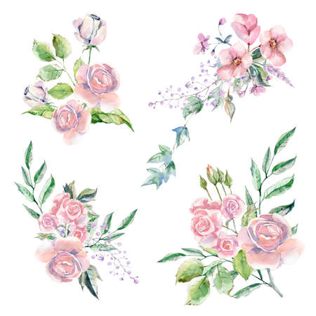 Set of Watercolor hand painted flowers, leaves and plants. Archivio Fotografico