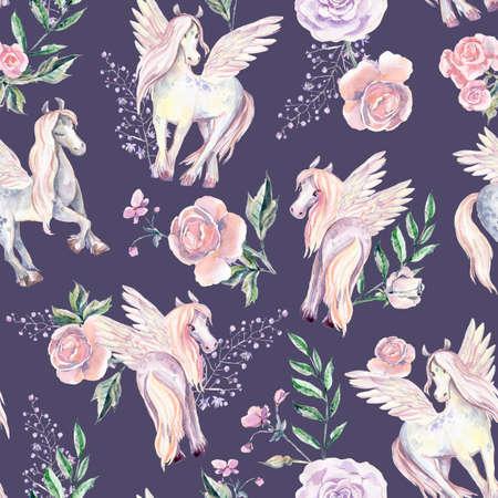 Magic Pegasuses in seamless pattern. Watercolor illustration, be