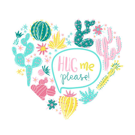 Heart with exotic blossom succulents and cactus. Romantic stylish vector illustration. Perfect for card or t-shirt print. Hug me please Illusztráció