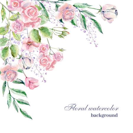 Aquarel achtergrond voor bruiloft of romantisch ontwerp. Bloemensamenstelling, natuurlijke schoonheid. Hand getekende illustratie. Stockfoto