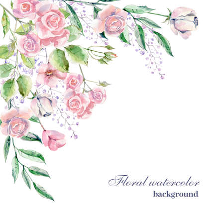 Watercolor background for wedding or romantic design. Floral composition, natural beauty. Hand drawn illustration.