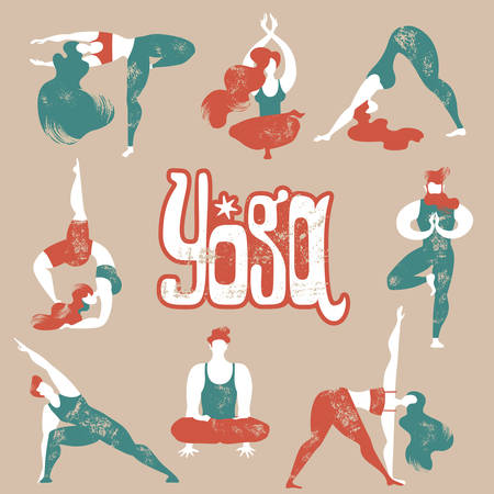 Flat vector collection of yoga asanas. Men and women engage in yoga. Healthy lifestyle.