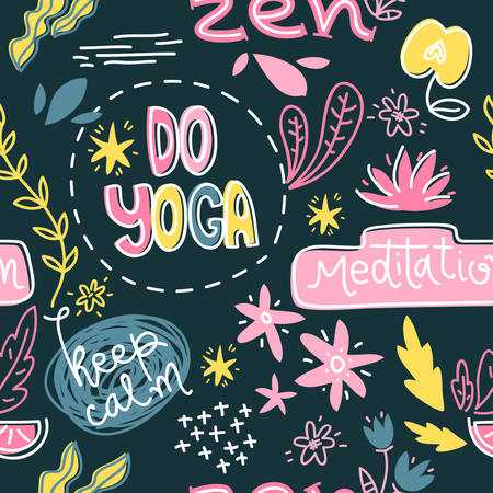 Yoga symbols, slogan and abtract objects. Vector seamless  pattern