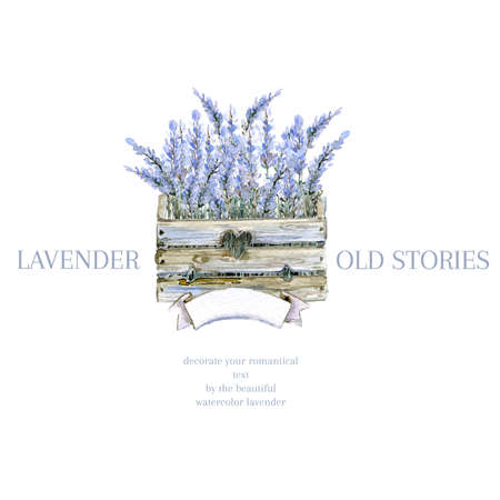 Watercolor hand drawn lavender logo. Provence wooden box with lavender. Natural retro product emblem. Stock Photo